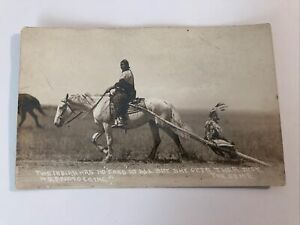 AZO RPPC Photo Postcard--Indian Mother on Horse Pulling Child-Miles City Montana