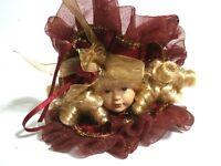 Victorian Porcelain Doll Head Christmas Ornament Burgundy Ribbon Velvet