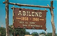 c1950s Old Abilene Town Sign, Roadside Americana, Abilene, Kansas Postcard