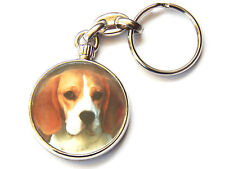 BEAGLE Dog Puppy Quality Chrome Keyring Picture Both Sides