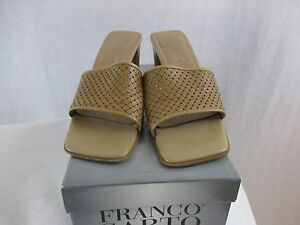 DEMORE Franco Sarto BAMBO Brown Leather Open Toe Slip On High Heel Mules Sandal