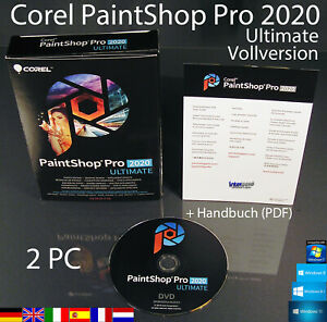 Corel PaintShop Pro 2020 Ultimate Vollversion 2 PC Box + DVD Handbuch (PDF) NEU