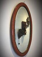 Ancien miroir biseauté ovale bois et stuc doré effet bois de loupe- ART DECO1930