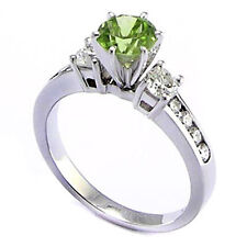 14k Solid White Gold Peridot Diamond Anniversary Ring #R1400
