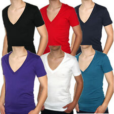 American Deep V-Neck T-Shirt tiefer V-Ausschnitt Herren Baumwolle Neu Club Basic