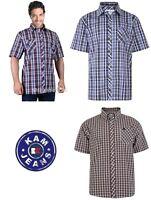Big Mens Lilac Kam Union Check Short Sleeve Shirt Size 2xl to 8xl (KBS6020)