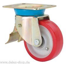Schwerlastrolle mit Bremse 125 mm Polyurethanbereifung Kugellager 300 kg Rad