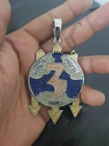 """Men's """"LOYALTY RESPECT FAMILY"""" Hip-Hop Silver Pendant With Multi Color Gemstones"""