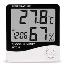 LCD Digital Temperatur Luftfeuchtigkeit Meter Uhr Innen Thermometer Hygrometer