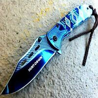 "8"" BLUE SPRING OPEN ASSISTED TACTICAL FOLDING POCKET KNIFE EDC Blade 3Cr13 Steel"