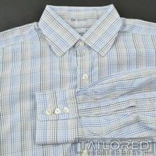 TURNBULL & ASSER White Blue Check 100% Cotton Mens Luxury Dress Shirt - 16