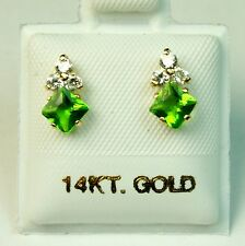 4x4mm princess cut 14k solid yell. gold Peridot Small screw back stud earrings