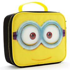 Despicable Me 2 Minion Boys Black Lead-Safe Insulated Lunch Tote Box Kit Nwt $20