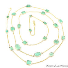 Estate 25.6ct Emerald Bezel Setting long necklace 14kt yellow Gold 13.8 Grams