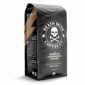 Death Wish Coffee - Medium Roast Worlds Strongest Coffee Organic 1 lb Whole Bean