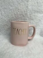NEW Rae Dunn TEACHER Gold Letter Pink Mug *Expert Shipper*