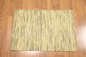 Accent Rug 100% Wool 2x3 Multi-use Textured Olive Green Ombre RUG Foyer Den Bath