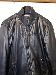 Genunie Armani Jeans Padded Leather Bomber Jacket in Black Colour, size XXL