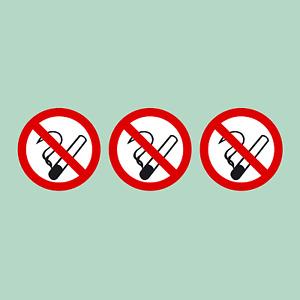 3x No Smoking Stickers - 75mm Diameter - Car, Window, Van, Shop, Taxi, Cafe