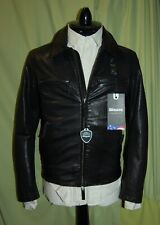 NWT BLAUER USA mens 2 way zipper black moto biker leather jacket size S