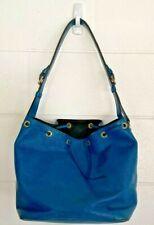 Louis Vuitton Womens Bucket Bag Blue Striped Adjustable Strap Drawstring Medium