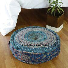 20'' Indian Elephant Mandala Round Ottoman Pouf Cover Vintage Footstool Pouffe