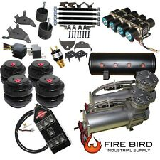 "Chevy Silverado 8898C1500 Air Kit Pewter 2600 Bags 1/2"" Valve Black 7 Switch xzx"