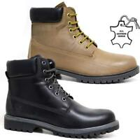 Mens Leather Boots New Biker Army Military Combat Ankle Hiking Boots Shoes Size
