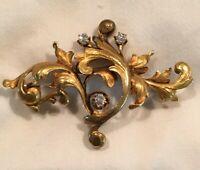 Victorian 18K Gold Brooch Pin with Diamonds, Old European Cut .12 tcw. No Polish