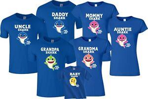 Shark family Daddy Mommy Baby  Custom doo Matching Funny Tshirt