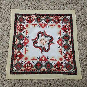 Vintage Southwestern Aztec Native Bandana Scarf Made in USA Earth Tones