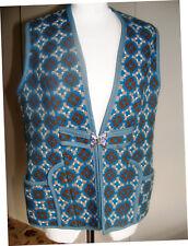 Vintage Welsh wool blue waistcoat gilet tapestry woven in Wales size 12/14 UK