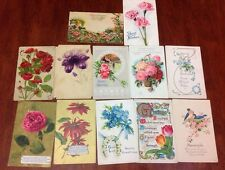 Vintage Early AMERICAN 1900's FLOWER 12 Post Cards Sent With Stamps Lot