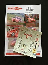 DECALS 1/24 PEUGEOT 206 WRC PRINCEN RALLYE YPRES BELGIQUE 2001 RALLY TAMIYA