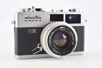 Minolta Hi-Matic E 35mm Film Camera with 40mm f/1.7 Lens PARTS OR REPAIR V09