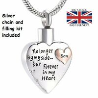 Son Keepsake Heart Cremation Urn Pendant Ashes Silver Necklace Funeral Memorial