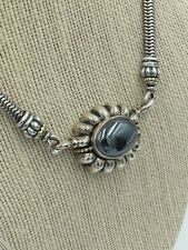 LAGOS Caviar Sterling Silver 18k Gold Hematite Pendant & Snake Chain Necklace