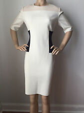 NEW ST JOHN KNIT SIZE 16 WHITE CREAM BEIGE NAVY COLOR BLOCK DRESS