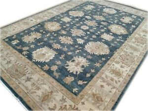 10x14'Rug   Traditional Hand Made  Hand Knotted  Wool Blue Ivory Area Rug