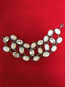 Martine Wester - White Opal & Crystal Bracelet & Matching Earrings
