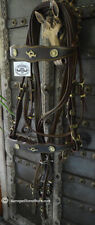 Baroque Portuguese Dressage Double Weymouth Horse Bridle BROWN/GOLD WB NWT