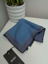 HUGO BOSS Tailored Navy Blue Check Silk Cotton Pocket Square Handkerchief Hankie