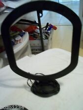 VINTAGE TELEVISION TV ANTENNA W  MOVEABLE RING AND EXTENSION WIRE MOUNTABLE BASE