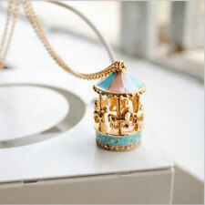 Novelty Carousel Merry Go Round Horse Pendant Sweater LongChain Necklace Gift OU