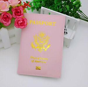 Leather Passport Holder Cover Travel case Wallet USA Emblem Gold