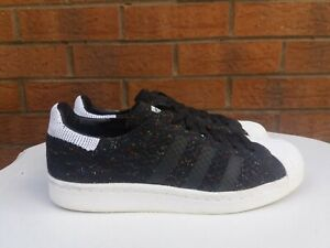 ADIDAS SUPERSTAR UK SIZE 4.5 BLACK & WHITE SPECKLE PATTERN LACE UP TRAINERS VGC