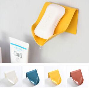 Self Adhesive Soap Dish Wall Holder Free-Hanging Rack Tray Box Shower Shelf