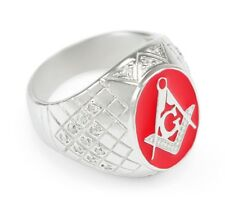 Red Masonic Oval Ring with CZs | Freemasonry | Father's Day Gifts | Men's Rings