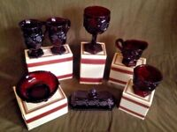 Vintage 1982 Ruby Red Glassware Avon 1876 Cape Cod Collection 7 Pieces