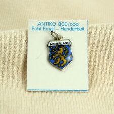 ANTIKO Bettel Armband Wappen Anhänger Emaille Silber 800 Nederland Holland OVP